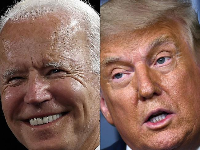 At 77 and 74 respectively, Biden and Trump are both at risk from COVID-19. Picture: Olivier DOULIERY and Brendan Smialowski / AFP