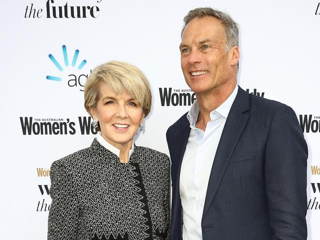 Julie Bishop, Member for Curtin and partner David Panton at the Women of the Future Awards in Sydney. Picture: Ryan Pierse/Getty
