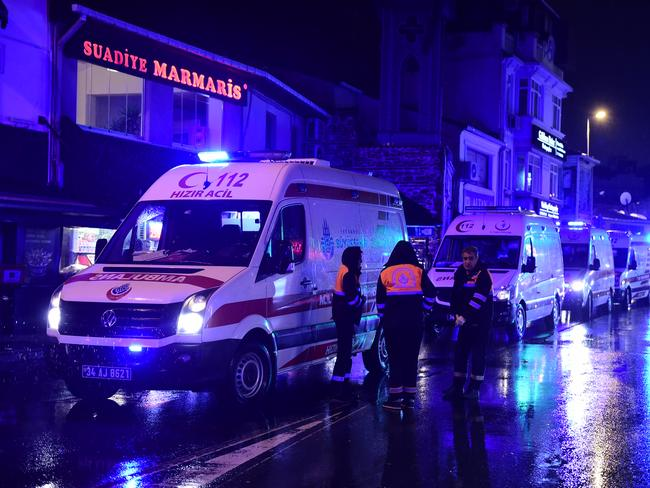 Ambulances are seen at the site of an armed attack January 1, 2017 in Istanbul. Picture: AFP