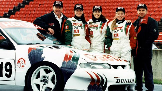 The Castrol Cougars: Melinda Price, Kim Watkins and Kerryn Brewer, with Larry Perkins and Russell Ingall.