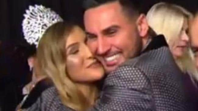 Salim Mehajer embraces sister Mariam at the Miss Lebanon Australia 2016. Picture: Channel 10