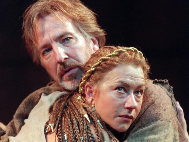 Acting legends ... Rickman with Helen Mirren in a 1998 performance of Antony and Cleopatra. Picture: John Stillwell/PA