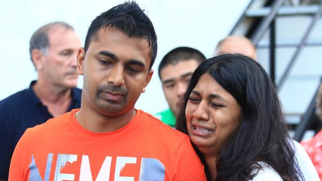 Devastation ... Chinthu Sukumaran and Brintha after seeing their brother Myuran Sukumaran for the last time. Picture: Adam Taylor