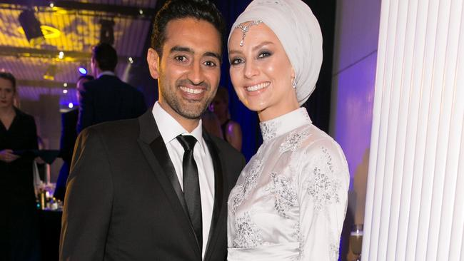 Waleed Aly and wife Susan Carland at the GQ Men of the Year Awards.