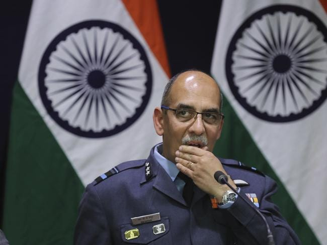 "Indian Air Force Air Vice Marshal R.G.K. Kapoor attends a press briefing. Kumar said one of its Mig-21 fighter aircraft was missing and that India was still ""ascertaining"" whether its pilot was in Pakistan's custody. Picture: AP"