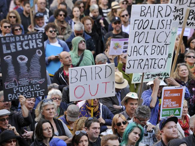Protesters wanted Mike Baird out. Picture: Joel Carrett/AAP