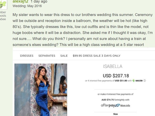 A wedding guest's chosen dress has been slammed after it was shared online by her concerned sister. Picture: Abyss by Abby