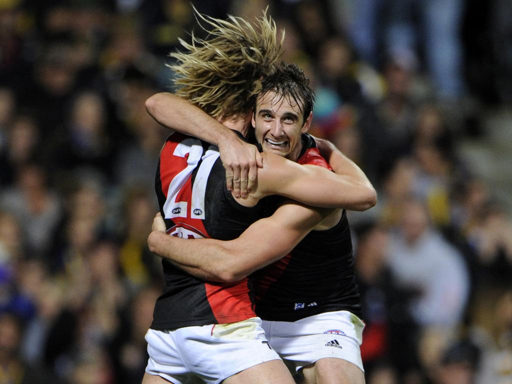 AFL ROUND 14 - West Coast Eagles v Essendon Bombers, Patersons Stadium, Perth. PICTURED- Essendon's Jobe Watson and Dyson Heppell celebrate the goal that won the match.