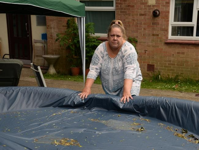 Neighbours chipped in to buy the pool to share. Picture: SWNS/Mega