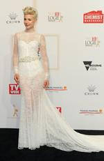 Kate Peck arrives on the red carpet at the 59th annual TV Week Logie Awards on April 23, 2017 at the Crown Casino in Melbourne, Australia. Picture: AAP