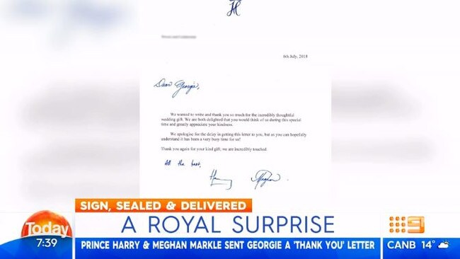 "Prince Harry and Meghan wrote that they were ""incredibly touched"" by Gardner's gift. Picture: Channel 9"