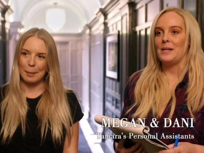 Tamara Ecclestone's personal assistants Megan and Dani.. Picture: ITV