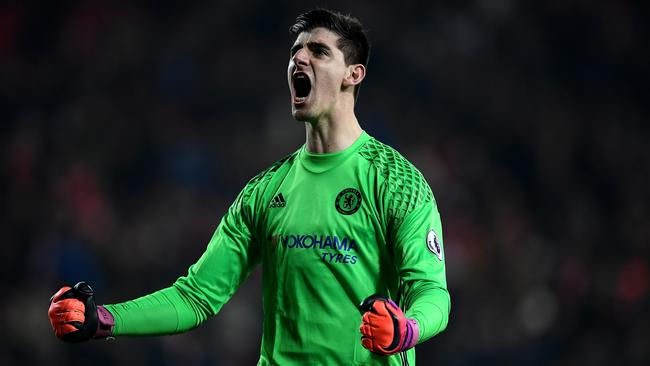 Thibaut Courtois reacts after the final whistle during the Premier League match between Sunderland and Chelsea in 2016