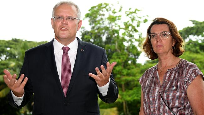 Australian Prime Minister Scott Morrison along with assistant Minister for International Development and the Pacific Anne Ruston. Picture: AAP/Dan Himbrechts