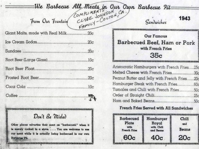 A McDonald's menu from 1943 shows the wide selection on offer to early customers, and nothing costs more than 60 cents.