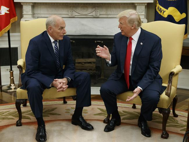 "President Donald Trump sits down with new White House Chief of Staff John Kelly who he predicts will be one of the ""greatest"" in the role. Picture: AP Photo/Evan Vucci."