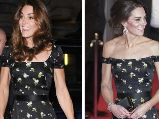 Kate re-wore her Alexander McQueen dress (L) earlier this year, but it looked very different to its 2017 BAFTAs outing.