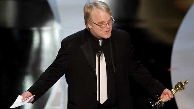 Oscar winner... Hoffman accepting his Oscar for his role in Capote. Picture: AP