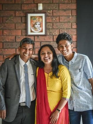 Formerly from Bangalore in India, Seshadri Vidyam, wife Sandhya Seshadri and their 14-year-old son Kaustubh Seshadri Vydram will become Australian citizens on Australia Day. Picture: AAP/ROY VANDERVEGT