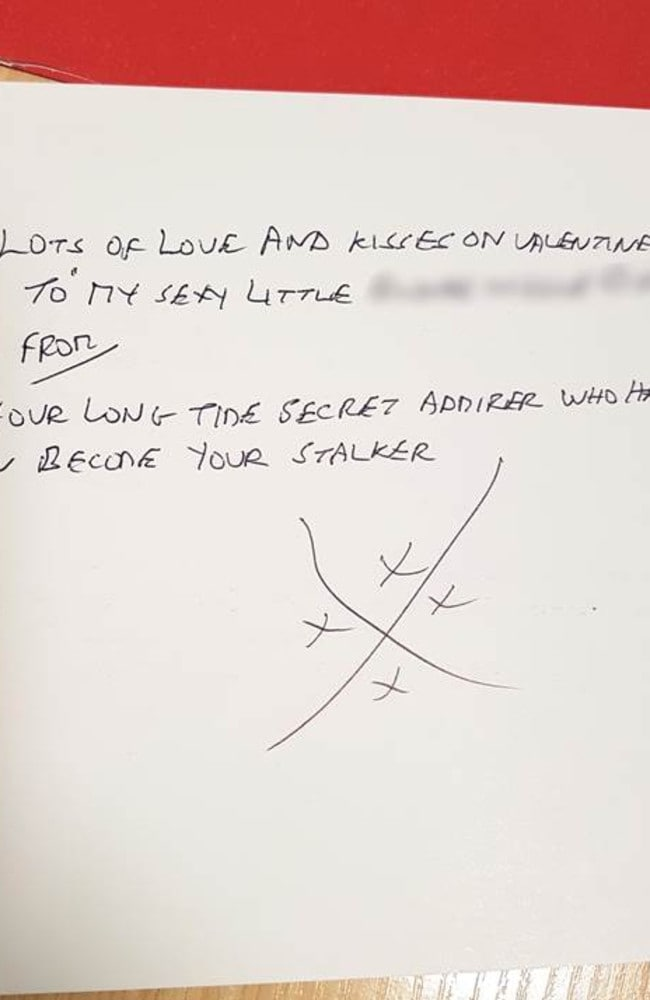 Gordon the stalker's letters have become more threatening and explicit. They always end with a distinctive set of five kisses similar to a Jerusalem cross. Picture: Avon and Somerset Police