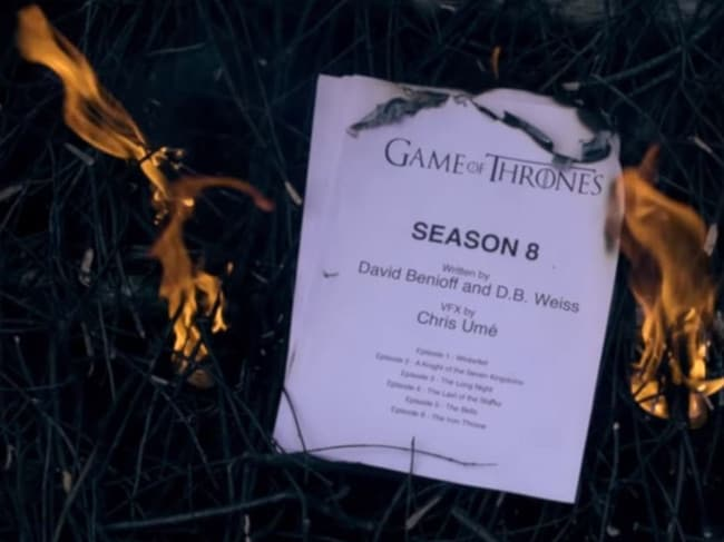 A viral video has poked fun at season 8 of Game of Thrones, including the disappointing script. Picture: YouTube