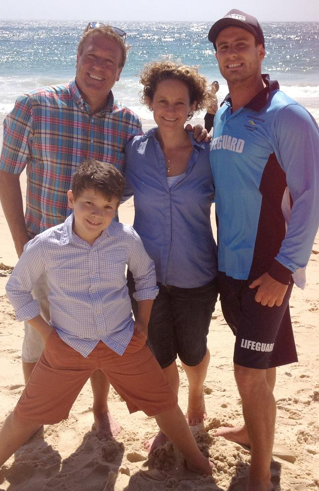 Heroes ... Cassandra Scott and her son Ewan with Neil Clugston and Luke Twitchings, who helped save her life when she drowned at Coogee Beach. Picture: Supplied