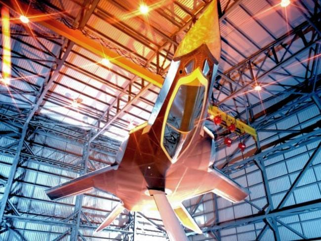 "A photo of the 1990s mockup of Britain's ""Replica"" stealth fighter project undergoes radar cross-section analysis. Picture: BAE"