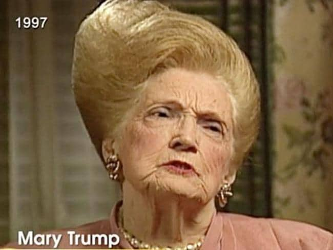 As this 1997 video of Donald Trump's mother Mary shows he inherited her bouffant hair style, plus much more.