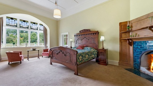The bed shipped out from England for the visit by Prince Alfred, the Duke of Edinburgh, remains in one of the 10 bedrooms at Purrumbete.
