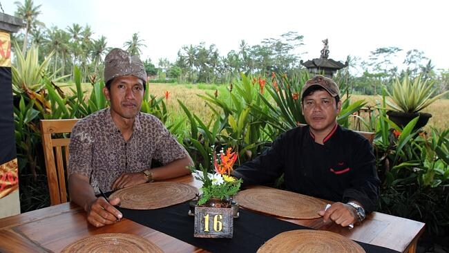 Supervisor Wayan Bagia and chef Dewa Seken were in charge of the Dewa Malen Restaurant.