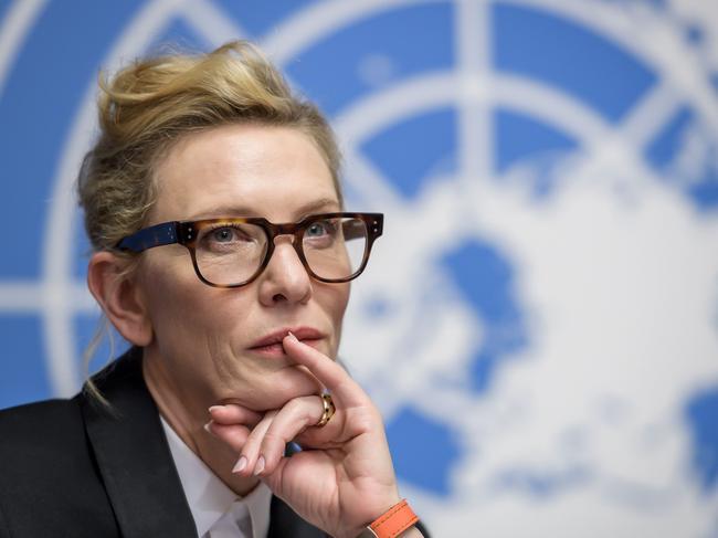 UNHCR ambassador Cate Blanchett speaks in Genva. Picture: Fabrice COFFRINI / AFP.