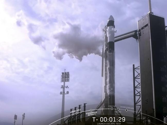 This NASA TV video frame grab shows SpaceX unmanned spacecraft before it launched. Picture: AFP photo/NASA TV