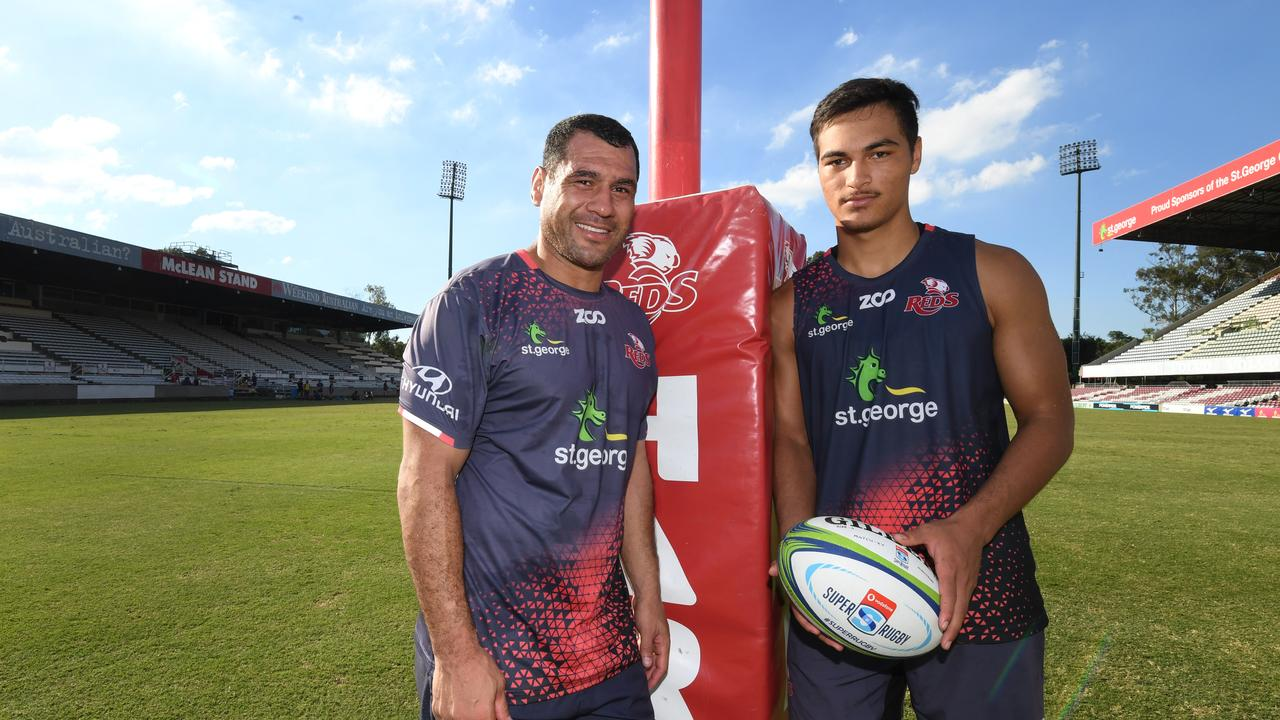 Departing Reds flanker George Smith (left) was double Jordan Petaia's age.