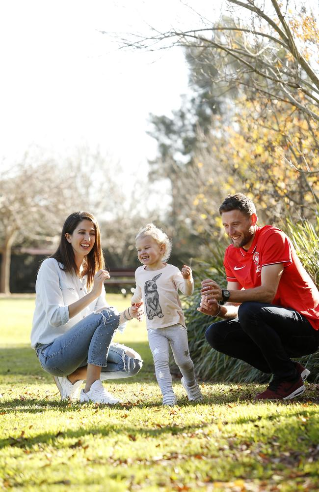Western Sydney Wanderers' Robbie Cornthwaite and his wife Nel pictured with their daughter Sahara, 2.