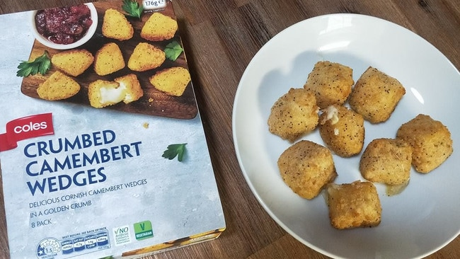 The crumbed camembert wedges are available in the chiller section at Coles. Picture: Facebook/Mumspo