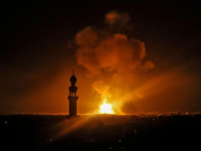 A picture taken in Rafah in the southern Gaza Strip, on May 5, 2019 shows an explosion following an air strike by Israel. Picture: AFP
