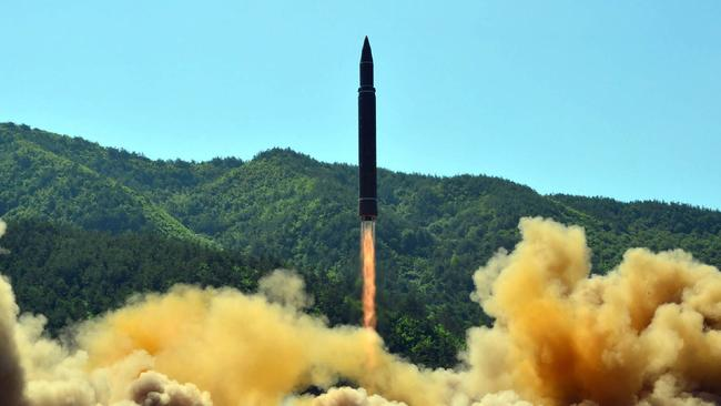 The test-fire of an intercontinental ballistic missile, Hwasong-14, at an undisclosed location in North Korea. Picture: AFP.