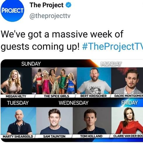 The Project's tweet teasing the Spice Girls as guests on tonight's show.