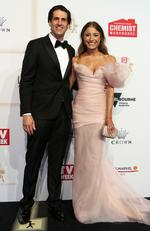 Andy Lee and Bec Harding arrive on the red carpet at the 59th annual TV Week Logie Awards on April 23, 2017 at the Crown Casino in Melbourne, Australia. Picture: Julie Kiriacoudis