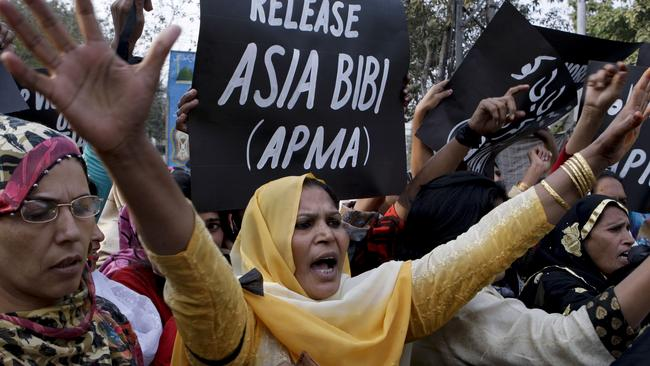 Supporters of All Pakistan Minorities Alliance rally against Asia Bibi's execution. Picture: AP.