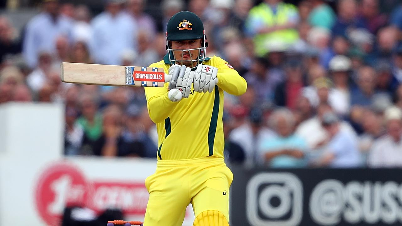 HOVE, ENGLAND - JUNE 07: Marcus Stoinis of Australia in action during the one day tour match between Sussex and Australia at The 1st Central County Ground on June 7, 2018 in Hove, England. (Photo by Bryn Lennon/Getty Images)