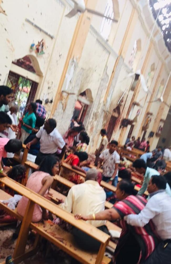 The aftermath of an explosion at St. Sebastian's Church, Colombo, Sri Lanka.
