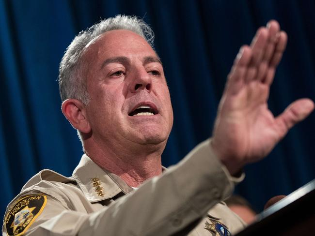 Las Vegas sheriff Joe Lombardo briefs reporters on the ongoing investigation into Sunday night's mass shooting. Picture: Drew Angerer/Getty Images/AFP