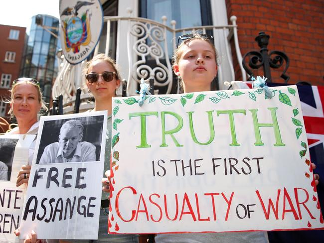 Pro-Assange demonstrators mark the fifth anniversary of Julian Assange's arrival at the Embassy of Ecuador. WikiLeaks founder Julian Assange has been holed up inside Ecuador's London embassy, since 2012. Picture: AFP Photo/Isabel Infantes