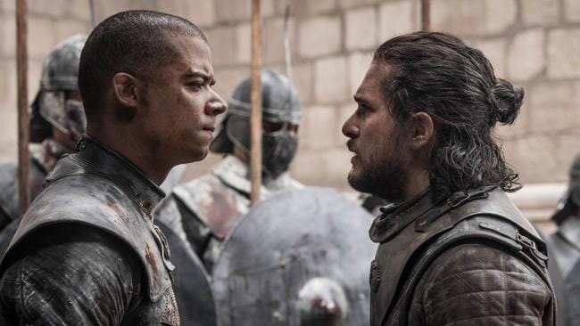 Jacob Anderson as Grey Worm and Kit Harington as Jon Snow. Picture: Helen Sloan/HBO