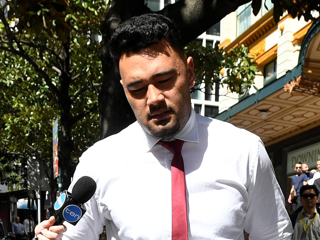 South Sydney Rabbitohs player Zane Musgrove leaves the Downing Centre Local Court in Sydney Wednesday, September 19, 2018. (AAP Image/Joel Carrett) NO ARCHIVING