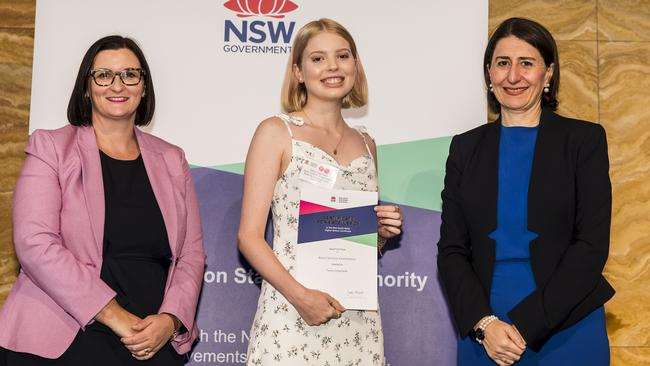 Retail Services Examination first-in-course Tamra Degotardi with Education Minister Sarah Mitchell and Premier Gladys Berejiklian. Picture: NSW Education Standards Authority