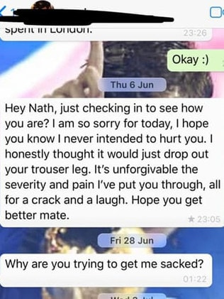 Nathan Davies shared screenshots of a text message exchange. Picture: Facebook