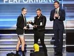 Nick Jonas presents the the Best Pop Duo/Group Performance award for 'Stressed Out' to recording artist Tyler Joseph of music group Twenty One Pilots onstage during The 59th GRAMMY Awards at STAPLES Center on February 12, 2017 in Los Angeles, California. Picture: Getty