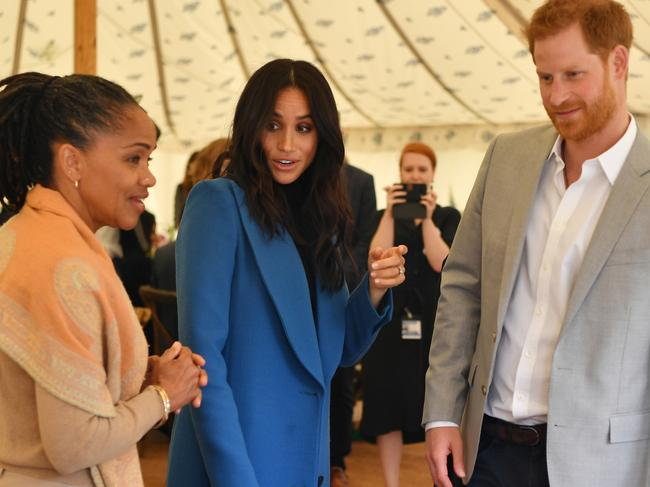 Meghan, Duchess of Sussex (C) and Prince Harry spent Thanksgiving with her mother, Doria. Picture: Getty